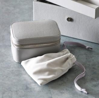 The White Company Leather Trinket & Cufflink Box , Grey, One Size
