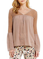 Gianni Bini Candace V-Neck Lace Shoulder Blouse