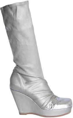 Rick Owens Metallic Wedge Heel Boots