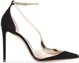 Nicholas Kirkwood curved strap leather and suede pumps