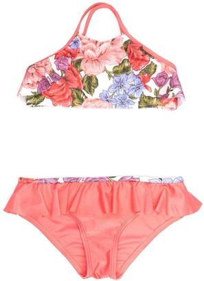 Zimmermann Kids Floral-Print Bikini