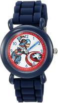 Marvel Boy's 'Captain America' Quartz Plastic and Silicone Casual Watch, Color: (Model: WMA000028)