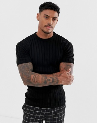 ASOS DESIGN knitted ribbed t-shirt in black