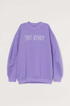 H&M Gathered-sleeve Sweatshirt - Purple