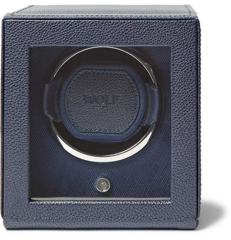 Wolf Cub Pebble-Grain Faux Leather Watch Winder - Navy