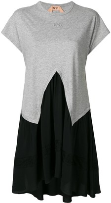 No.21 two-tone panelled T-shirt dress