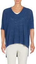 Eileen Fisher Petite Textured Box Organic Linen Blend Top