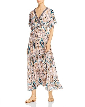 Johnny Was Alona Silk Tiered Maxi Dress