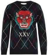 Gucci Dragon-appliqué Argyle-intarsia Wool Sweater