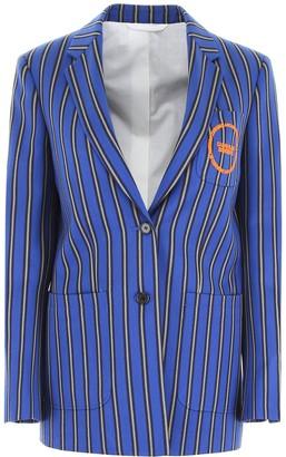 Calvin Klein Motif Embroidered Striped Blazer