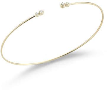 Mizuki Thin Cuff Bracelet with Four Diamonds