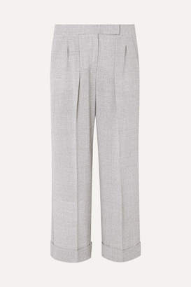 Max Mara Dax Cropped Prince Of Wales Checked Wool Wide-leg Pants - Gray