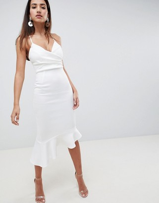 Asos Design DESIGN scuba cami pephem midi dress-White