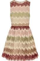 Alice + Olivia Alice+olivia Guipure Lace And Woven Mini Dress