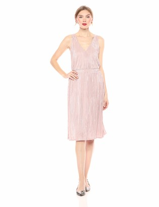 Rachel Roy Women's Sleeveless Metallic Pleated Knit Midi Dress