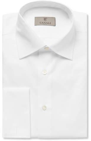Canali White Slim-Fit Double-Cuff Cotton-Twill Shirt
