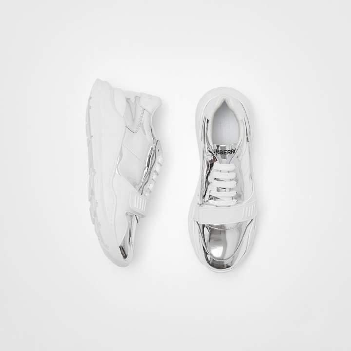 Burberry Metallic Leather Sneakers
