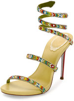 Rene Caovilla Beaded Snake 105mm Sandal, Green/Multi
