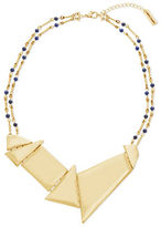 Steve Madden Double Strand Bar Link, Blue Bead Station & Geo Discs Necklace