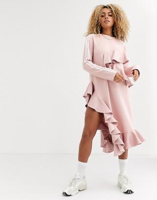 adidas x J KOO trefoil ruffle dress in pink