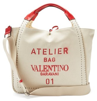 Valentino Atelier 01 Logo-print Micro Rockstud Tote Bag - Cream