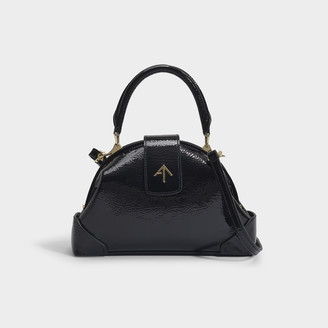 Atelier Manu Demi Top Handle Bag In Black Soft Crinkled Patent Calf Leather