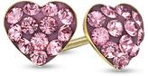 Zales Child's Rose Crystal Heart Earrings in 14K Gold