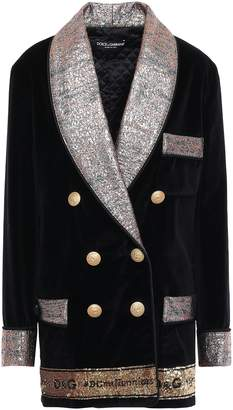 Dolce & Gabbana Double-breasted Embellished Metallic Jacquard And Velvet Blazer