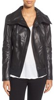 Rudsak Women's 'Presley' Asymmetrical Zip Neoprene & Leather Moto Jacket