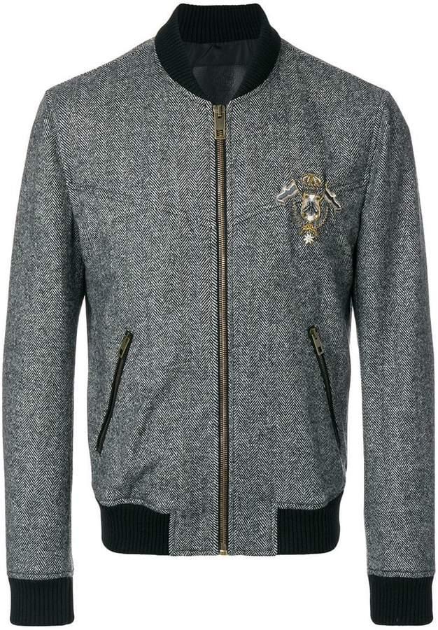 Dolce & Gabbana patch appliqué tweed bomber jacket