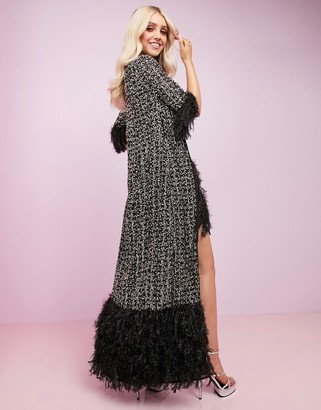 ASOS DESIGN Luxe embellished maxi robe with faux feather hem