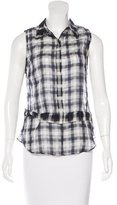 A.L.C. Sleeveless Plaid Button-Up