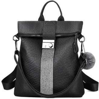Vbiger Fashion Women Anti-theft Pocket Backpack Casual Shoulder Bag School Bag Travel Handbag with Detachable Strap, Black