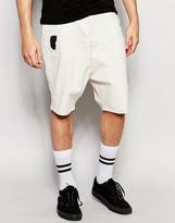 Asos Denim Shorts In Drop Crotch In Ecru With Rip And Repair
