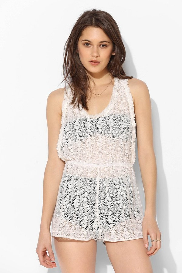 Urban Outfitters Staring At Stars Sheer Crochet Romper