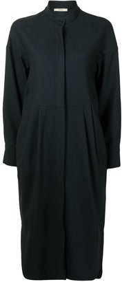 Odeeh Collarless Long-Sleeved Shirt Dress