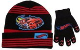 Mattel Hot Wheels Boys Black and Bed Stripes Beanie Hat and Glove Set - Size 4 - 7 [4014]