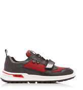 Prada Novo Calf Bike 1 Two-Tone Leather, Rubber And Mesh Sneakers