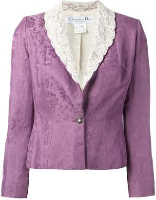 Christian Dior Pre-Owned cropped lace lapel blazer