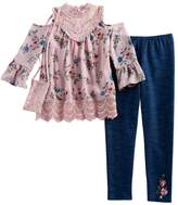 Knitworks Girls 7-16 Cold-Shoulder Floral Top & Faux-Denim Leggings Set with Crossbody Purse