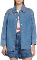 Sandro Straight-Fit Embellished Denim Shirt