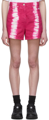 MSGM Pink Tie-Dye Denim Shorts