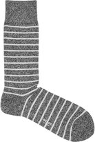 Reiss Reiss Grayson - Mottled Stripe Socks In Black, Mens