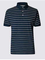 M&S Collection Slim Fit Pure Cotton Striped Polo Shirt