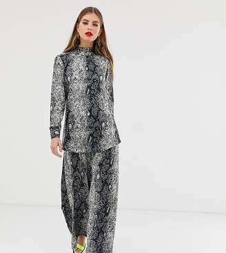 Verona high neck long sleeved co-ord top in python print-Grey