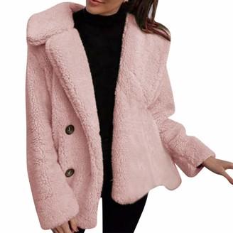 Kalorywee Women Coats And Jackets Cropped Teddy Coat KaloryWee Open Front Fleece Button Outwear Blue Coats Winter Women Fleece Soft Warm Long Sleeve Pullover Blouse Jacket Coat Casual Sweater Coat Woolen Jacket