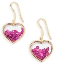 Aurelie Bidermann Chivor Heart Ruby& 18K Yellow Gold Earrings