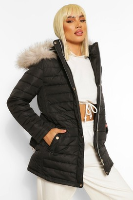 boohoo Faux Fur Trim Hooded Belted Puffer Coat