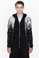 Gareth Pugh Black forest print layered hoodie