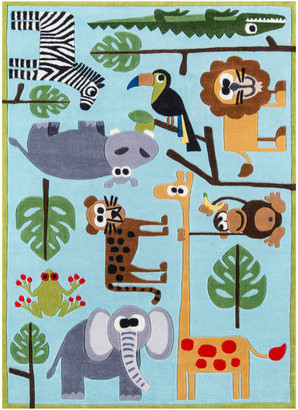 Momeni Lil Mo Whimsy Polyester, Hand-Tufted Rug, Blue, 5'x7'